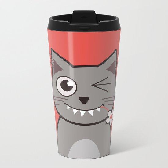 Winking Cartoon Kitty Cat Metal Travel Mug