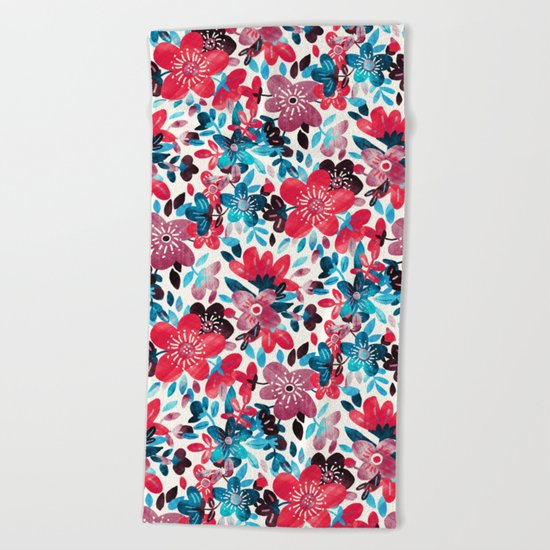 Happy Red Flower Collage Beach Towel
