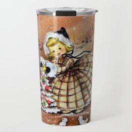 Vintage Girl with Christmas Tree Travel Mug