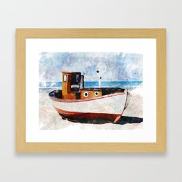 Beached Boat -- Framed Art Print