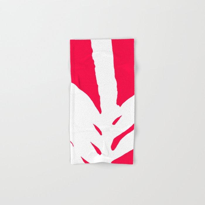 Missing White Fern on Bright Red Pink Fuchsia Hand & Bath Towel