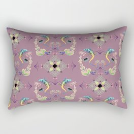 Mauve Celtic knotwork and lizard with succulent flowers brocade Rectangular Pillow