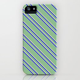 Dark Sea Green, Pale Goldenrod, and Blue Colored Striped Pattern iPhone Case