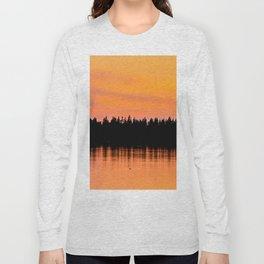 Orange Sunset With Forest Reflection On Lake Long Sleeve T-shirt