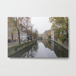Brugge in the mist Metal Print