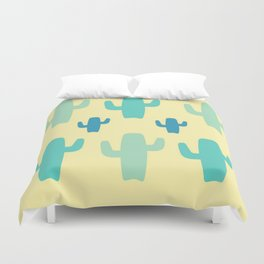 Green Cactus with Yellow Background Duvet Cover