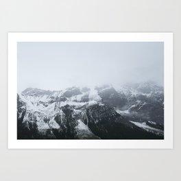 Mountain Peak in Fog Art Print