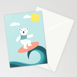 Polar bear surfing. Stationery Cards