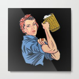 Beer Woman Metal Print