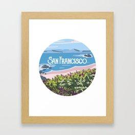 San Francisco, California Beach Succulents Illustration Framed Art Print