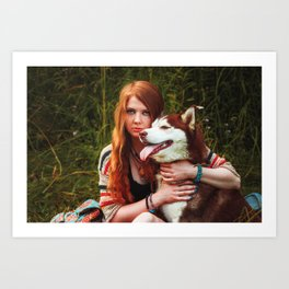 Red haired girl and husky dog boho photography summer vibes Art Print