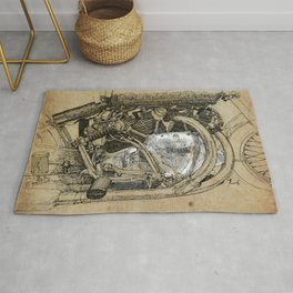Vincent motorcycle engine motor detail, vintage color, gift for men Rug