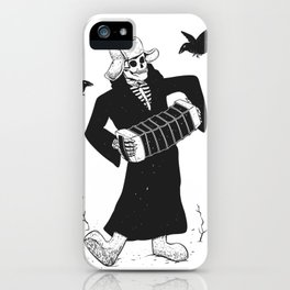 Grim reaper with accordion  - skull musician - black and white iPhone Case
