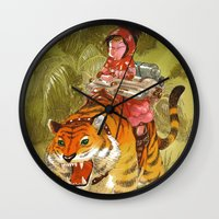bouletcorp Wall Clocks featuring Fluo Tiger by Bouletcorp