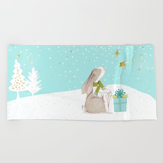 Bunny looking for Christmas- Beautiful watercolor illustration for children and all Beach Towel