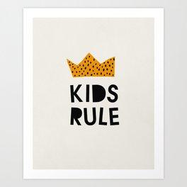 Kids Rule, Mid century modern kids wall art, Nursery room Art Print
