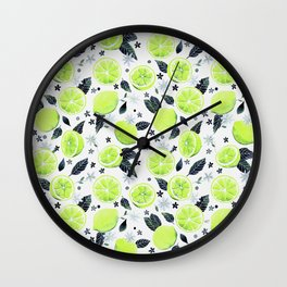 Watercolor Limes Pattern Wall Clock