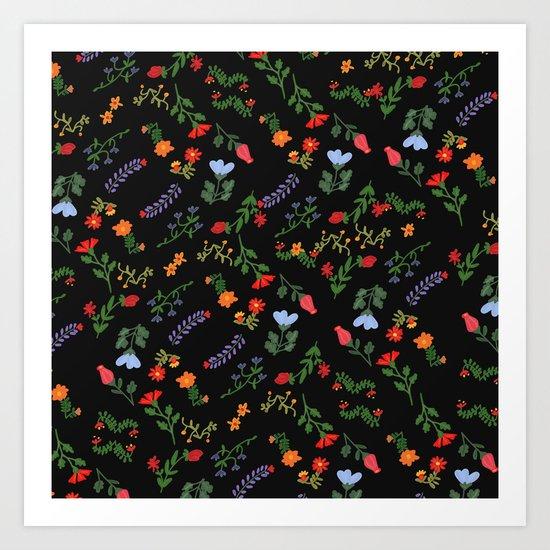Dark Flower Pattern Art Print