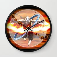 aang Wall Clocks featuring Avatar Aang by Waffle Guru