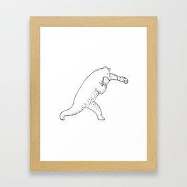 Kodiak Bear Left Straight Punch Drawing Framed Art Print