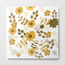 Big Yellow and Brown Flowers Metal Print