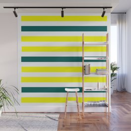 Yellow Green Lines Wall Mural