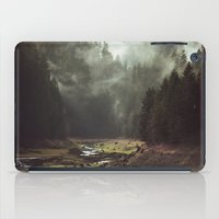 her art iPad Cases featuring Foggy Forest Creek by Kevin Russ