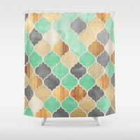 bedding Shower Curtains featuring Charcoal, Mint, Wood & Gold Moroccan Pattern by micklyn
