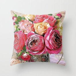 Red yellow and pink roses branch Throw Pillow