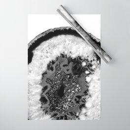 Gray Black White Agate Glitter Glamor #1 #gem #decor #art #society6 Wrapping Paper