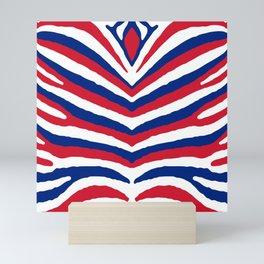 UK British Union Jack Red White and Blue Zebra Stripes Mini Art Print