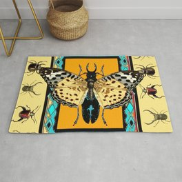 BUTTERFLY WESTERN YELLOW-ORANGE-TURQUOISE INSECT  PATTERNS Rug