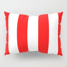 Vertical Stripes - White and Red Pillow Sham