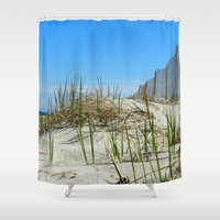 cape cod Shower Curtains featuring Cape Cod Dunes by Doreen Calvano Art & Photography