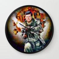 jfk Wall Clocks featuring Zombieland: JFK by Richard Michaud