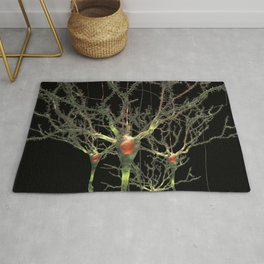 Neurons Green Brain Cells with Glowing Nerve Impulses Rug