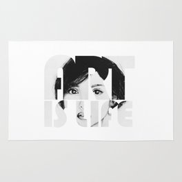 Asian beauty face quote art is life black and white Rug