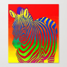 Colorful Psychedelic Rainbow Zebra Canvas Print