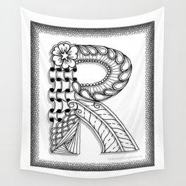 Zentangle R Monogram Alphabet Illustration Wall Tapestry