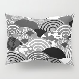 Nature background with japanese sakura flower, Cherry, wave circle Black gray white colors Pillow Sham