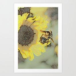 Buzzing the Sunflowers Art Print