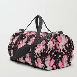 Pink Unicorn Pegasus on Black Duffle Bag