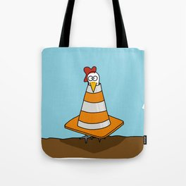 Eglantine la poule (the hen) dressed up as a traffic cone Tote Bag