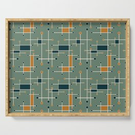Intersecting Lines in Olive, Blue-green and Orange Serving Tray