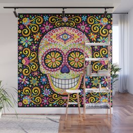 Colorful Sugar Skull - Psychedelic Day of the Dead Skull Art by Thaneeya McArdle Wall Mural