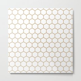 Honeycomb (Tan & White Pattern) Metal Print