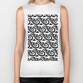 Whimsical black white abstract geometrical floral Biker Tank