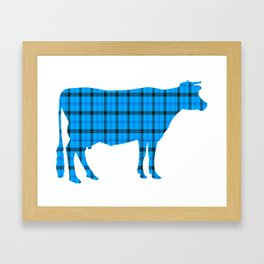 Cow: Light Blue Plaid Framed Art Print