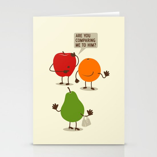 Like Apples and Oranges Stationery Cards