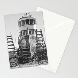 Shipyard Wooden Boat Fishing Ladders Black White Industrial Boatyard Northwest Shipwright Stationery Cards
